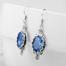 Unique Women 925 Silver Plated sapphire Wedding Anniversary Stud Dangle Earrings