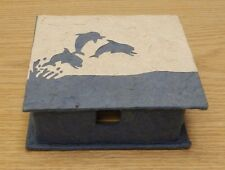 Dolphin porpoise box elephant dung poo paper craft blue white