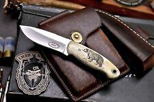 CFK Handmade 440C Custom BEAR Scrimshaw Bone Small Hunting Skinner Sport Knife