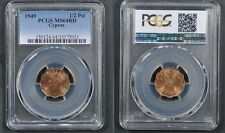 Rare condition 1949 Cyprus 1/2 Piastre- PCGS MS 64 RED