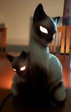 VINTAGE KRON SIAMESE CAT KITTEN HOLLOW EYES MID CENTURY NIGHT STAND TV LAMP USA