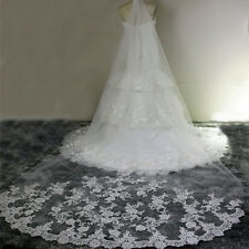 3M White Cathedral Length Lace Edge Bride Wedding Bridal Veils long US Stock