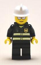 x1 NEW Lego Firemen Minifig CITY Fire Guy Minifigure Fireman w/ HAT & SUNGLASSES