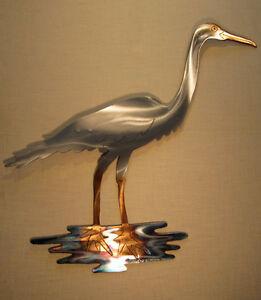Snowy Egret Heron Crane Coast Coastal Decor Ocean Metal Cottage Home Wall Art