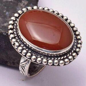 Carnelian Ethnic Handmade Ring Jewelry US Size-8.25 AR 31454