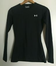 Under Armour Womens Fitted Coldgear Long Sleeve Shirt Top Black Base Layer Small