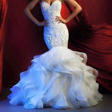 New Ruffles Mermaid Wedding Dress Organza White/Ivory Crystal Bridal Gown Custom