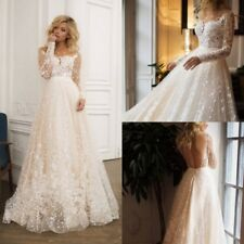 Wedding Dresses Long Sleeves Applique Lace Bridal Gowns Bride A Line Customize