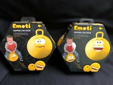 HEDSTROM EMOTI HOPPER RIDE ON CONFUSED & SMILEY FACE KID RIDE ON LOT OF 2 BNIP