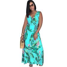 Sexy Women V Neck Sleeveless Print Bodycon Party Casual Clubwear Maxi Dress
