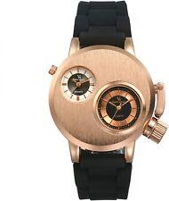 Reloj analógico para hombres único 2 zona horaria Cuarzo Reloj Doble Dial Steampunk Militar