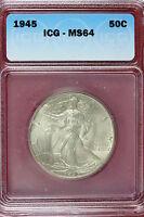 1945-P ICG MS64 Walking Liberty Half Dollar!! #E1374