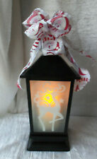 "15"" Lantern Metal Frosted Reindeer Glass Lighted Candle with Snowman Bow #136"