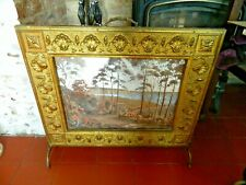 Vintage Fire Guard Brass with Decorative Picture