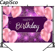 Photography Backgrounds Pink Balloon Birthday Party Purple Glitter Backdrops UK