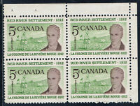 Canada #397iii(31) 1962 5 cent LORD SELKIRK Upper Right Block HF MNH CV$35.00