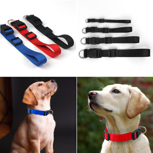 DOG COLLAR NYLON STRONG ADJUSTABLE RED BLUE BLACK PUPPY / ADULT