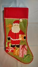 "Martha Stewart Christmas 'Red Santa With Gifts' Stocking, 18"" Tall, Holiday"