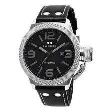 TW Steel Men's Canteen Black Dial Leather Strap Automatic Date Watch TWA200