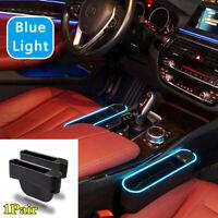 1Pair Car Seat Crevice Side Organizer 4USB Ports Storage Box w/Blue LED Light