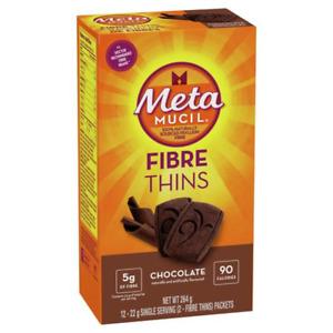Metamucil Fiber Supplement Thins,  Chocolate Flavor, Single Serving Packets 12ct