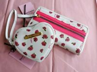 🌹NWT!🌹 JUICY COUTURE Neon Lights White Rose Wallet & Wristlet Set
