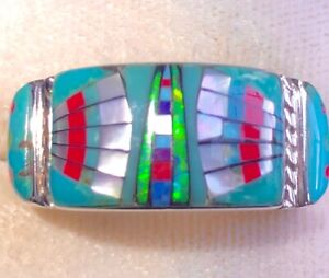 Sky Warrior Eagle Wing Native Opal Turquoise ring 10 Handsome Sterling 925 T