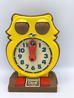 Answer Clock by Tomy Vtg Time Telling Educational Owl Toy 1975 Homeschool
