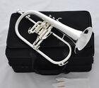 Professional Silver Plated Flugelhorn Horn Monel Valves New Case