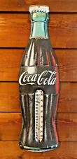 "Vintage Coca Cola Soda Advertising Thermometer 29"" Coke Bottle Sign"