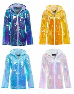 Womens Hooded Lightweight Zipped Neon Festival Jacket Kagool Raincoat Mac