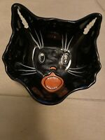 Pottery Barn Outlet Halloween Candy Dish Bowl/ Black Cat