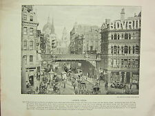 1896 VICTORIAN LONDON PRINT + TEXT ~ LUDGATE CIRCUS