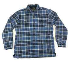 LL Bean Mens M Plaid Insulated Lined Flannel Button Down Blue Shirt