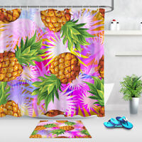 Tropical Pineapple Fruit Bathroom Decor Waterproof Shower Curtain & 12 Hooks  LB