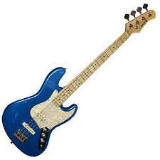 Chase 4 String Jazz Bass Electric Guitar B370-MBIn Metallic Blue Vintage Style