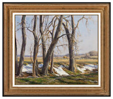 Clyde Aspevig RARE Original Oil Painting On Canvas Signed Tree Landscape Artwork