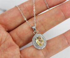 Pretty Solid 925 Sterling Silver Citrine,CZ Pendant Necklace jewellery + box