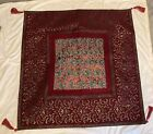 """Vintage Middle Eastern Hanging Wall Tapestry w Tassels Red Gold 40"""""""