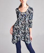 Size 10 Long Top Ladies Womens Blue Handkerchief Tunic NEW #B-1304