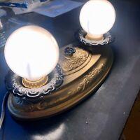 1934 Sears Tin 2-bulb ceiling fixture black and gold Art Deco