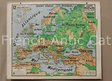 """French Antique School map poster EUROPA Physical mountain two sides 48""""*39"""""""