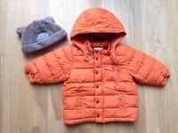 H&M Jacke Orange mit Next Mütze innen Rot Gefleect Gr 80 1A Zustand