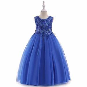 Flower Girls Dress Royal Blue Princess Wedding Party Bridesmaid Prom Gown k59