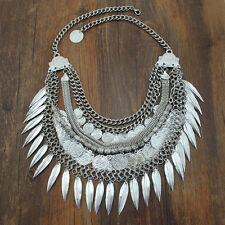 Women Vintage Coins Chain Pendant Statement Jewelry Choker Chunky Bib Necklace