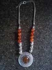 Adorne amber/orange glass and silvertone statement necklace