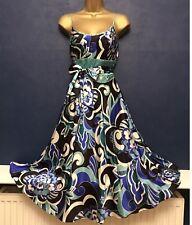 Monsoon Blue Floral Silk Mix Dress Size 8 BNWT Swirly Feminine Vivid Size 8