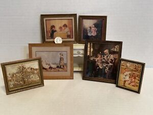 Vintage Artisan DAUGHERTY & BK Framed Colonial Pictures Dollhouse Miniature 1:12