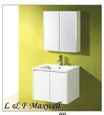 Bathroom Wall Hung Vanity with Ceramic Basin and Gloss Doors 600mm