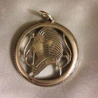 Egyptian Pharoah Sterling Silver circle Pendant Hallmarked ETHNIC jewelry
